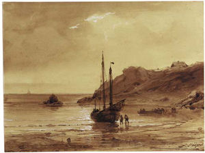 Louis Meijer - A Sailing Vessel On A Rocky Co..