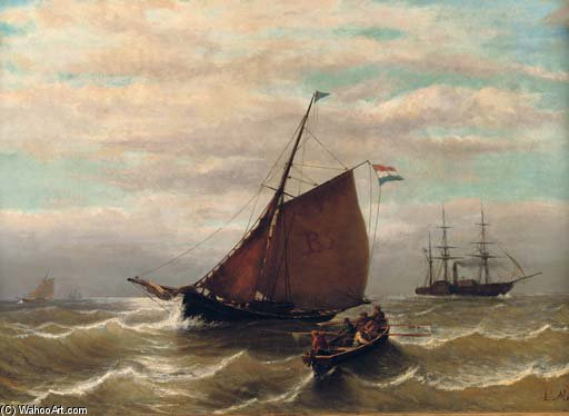 Rowing Back The Launch by Louis Meijer (1809-1866, Netherlands)
