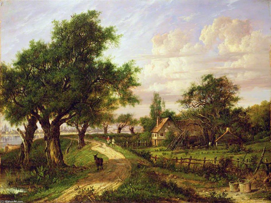 A Farmstead By A River by Patrick Nasmyth (1787-1831, United Kingdom)