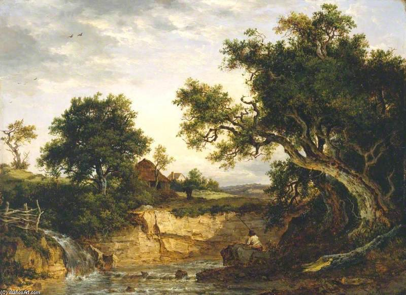 A Landscape ('the Angler's Nook') by Patrick Nasmyth (1787-1831, United Kingdom)