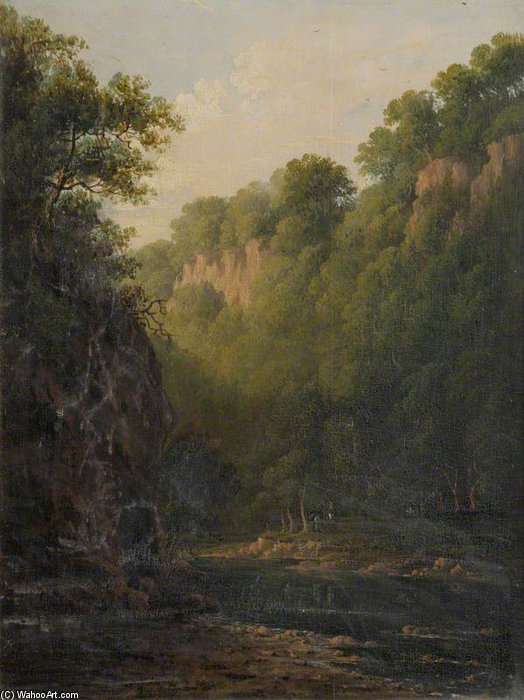 A Rocky Ravine With Trees And Figures Beside A River by Patrick Nasmyth (1787-1831, United Kingdom)