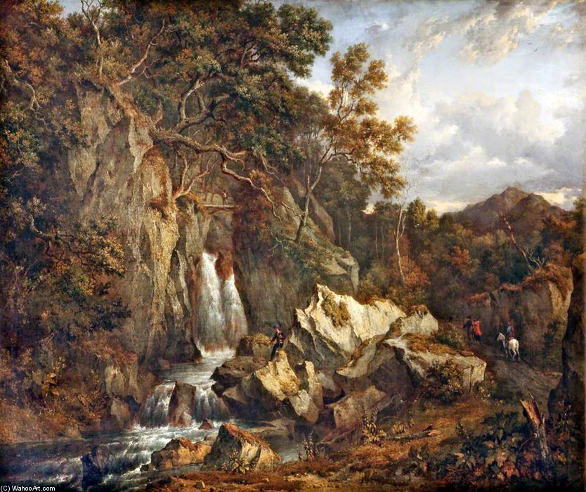 A Waterfall In Glen Shira Near Inveraray by Patrick Nasmyth (1787-1831, United Kingdom)