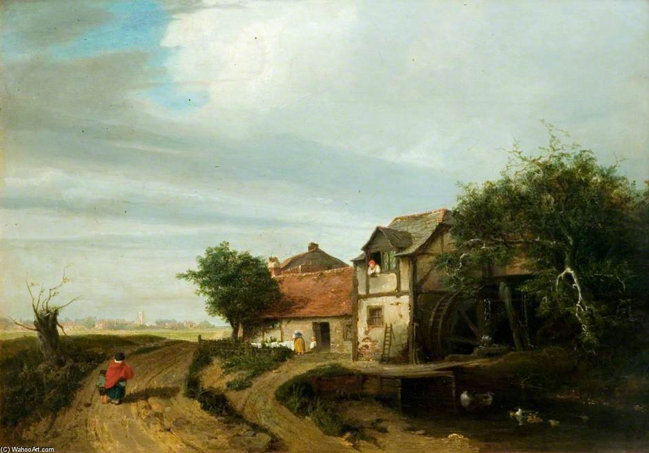 Landscape With A Cottage And A Water-wheel by Patrick Nasmyth (1787-1831, United Kingdom)
