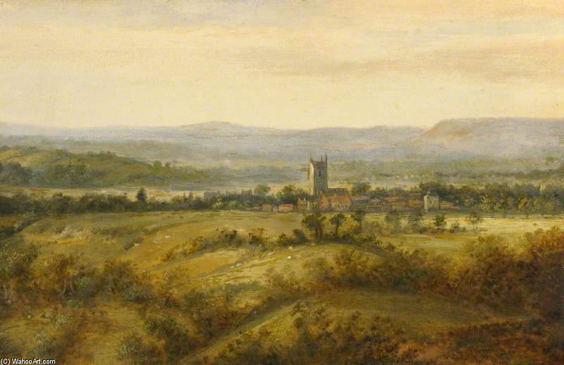 Landscape With Village And Church Tower by Patrick Nasmyth (1787-1831, United Kingdom) | Art Reproduction | ArtsDot.com