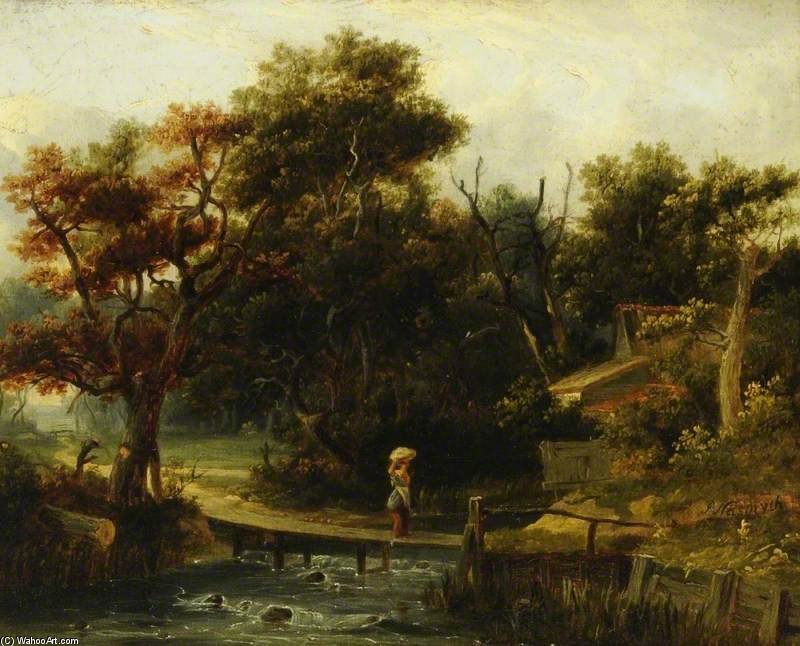 Landscape, Woman Crossing A Stream by Patrick Nasmyth (1787-1831, United Kingdom)