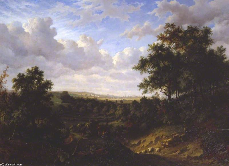 View On The Thames - Greenwich In The Distance by Patrick Nasmyth (1787-1831, United Kingdom)
