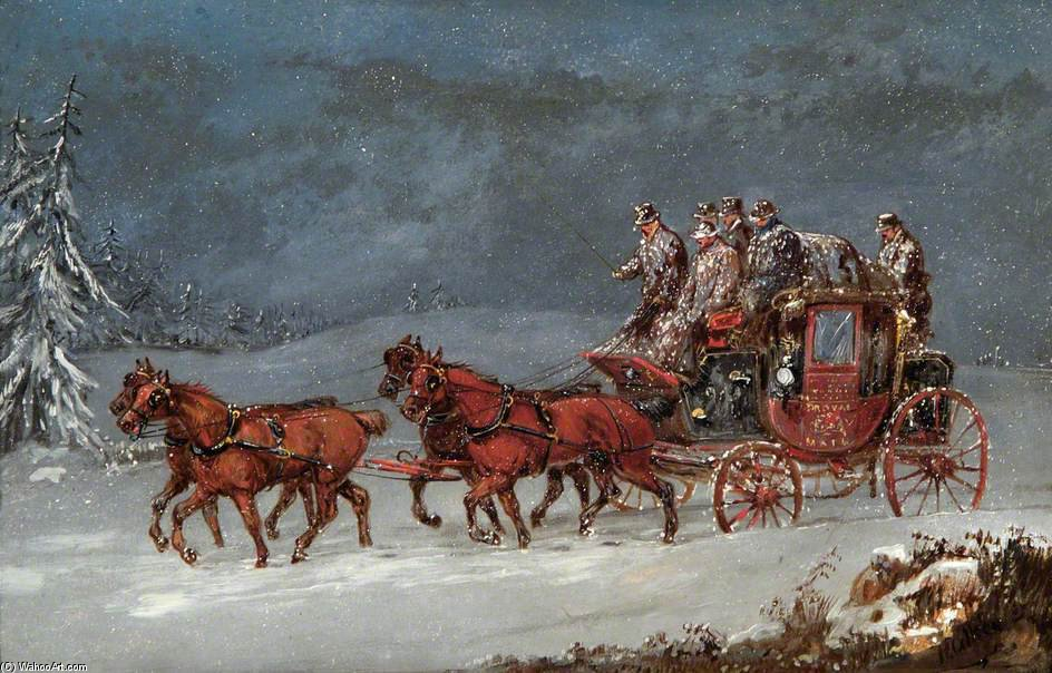 Mail Coach In A Snowstorm by Samuel Henry Gordon Alken (1810-1894, United Kingdom) | Museum Quality Reproductions | ArtsDot.com