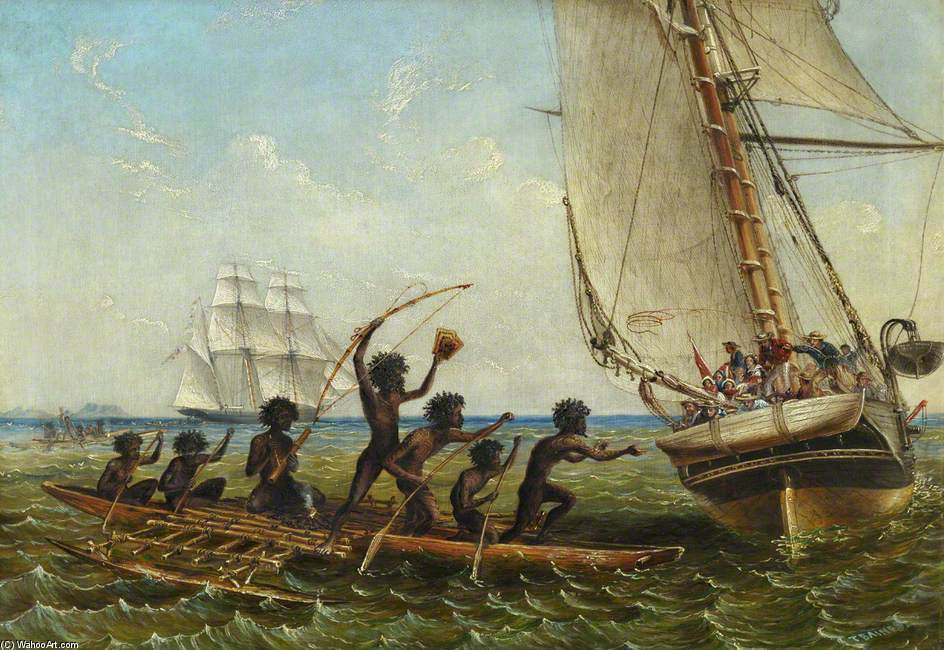 Aboriginal Canoes Communicating With The 'monarch' And The 'tom Tough' by Thomas Baines (1820-1875, United Kingdom)
