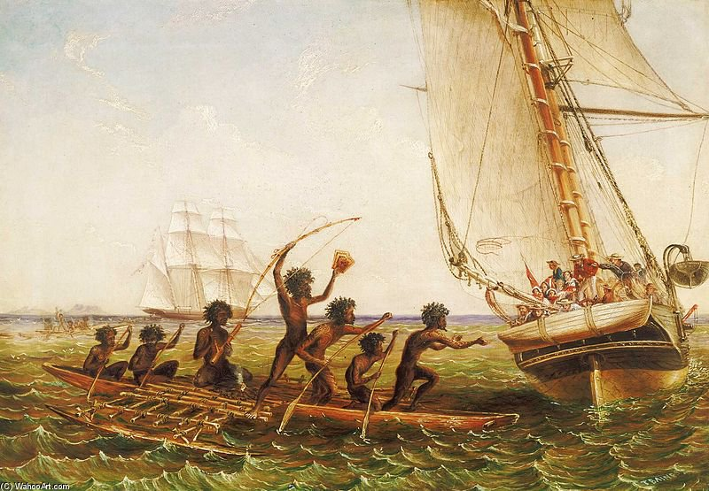 Aboriginal Canoes by Thomas Baines (1820-1875, United Kingdom)