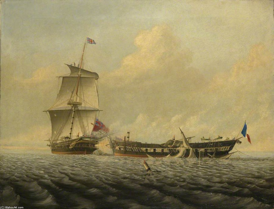 Action Between Hms 'blanche' And The 'pique' by Thomas Baines (1820-1875, United Kingdom)