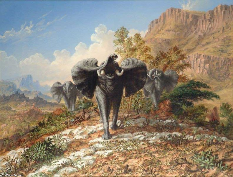Elephants Charging Over Quartose Country by Thomas Baines (1820-1875, United Kingdom)