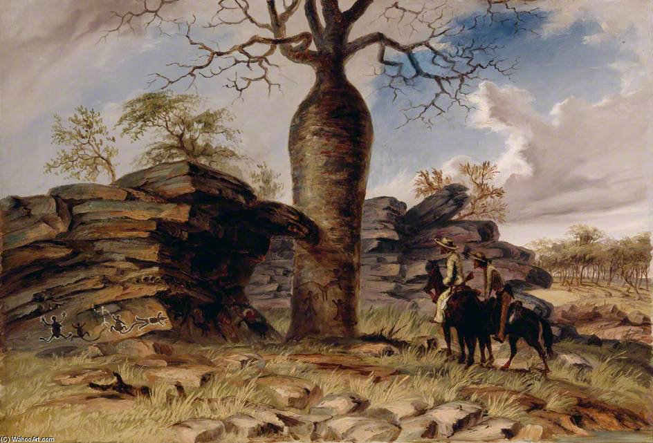 Figures Painted On Rocks And Carved On A Gouty Stem Tree by Thomas Baines (1820-1875, United Kingdom)