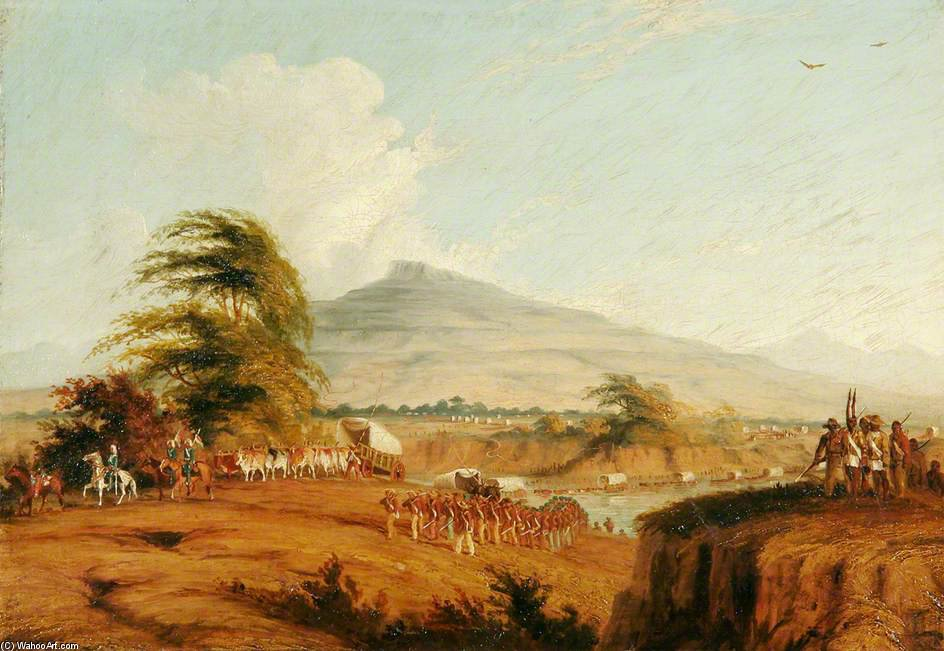 Forces Under The Command Of Lieutenant General Cathcart Crossing The Orange River, South Africa, To Attack Moshesh by Thomas Baines (1820-1875, United Kingdom)