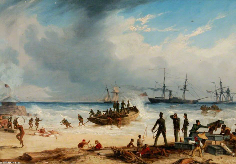 Landing In Surf At Algoa Bay, Cape Of Good Hope by Thomas Baines (1820-1875, United Kingdom)