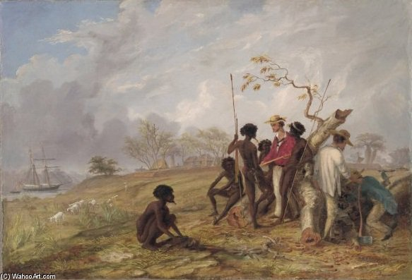 With Aborigines Near The Mouth Of The Victoria River by Thomas Baines (1820-1875, United Kingdom)