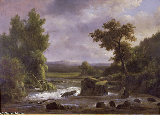 Buy Museum Art Reproductions | Paysage Avec Riviere by Francois Diday (1802-1877, Switzerland) | ArtsDot.com