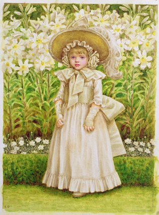 Child In A White Dress by Kate Greenaway (1846-1901, United Kingdom)