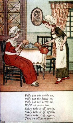 Polly Put The Kettle On by Kate Greenaway  (buy Fine Art Framed Print Kate Greenaway)
