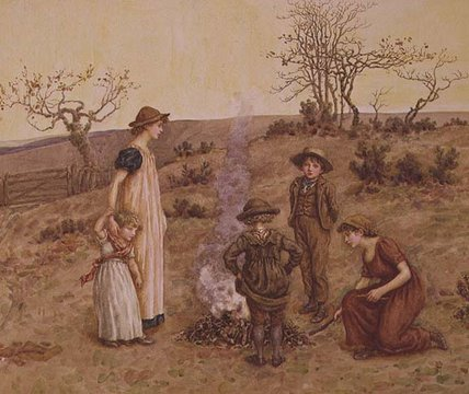 The Stick Fire by Kate Greenaway (1846-1901, United Kingdom)