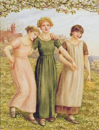 Three Young Girls by Kate Greenaway (1846-1901, United Kingdom)