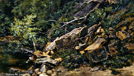 A Rocky Bank by Keeley Halswelle (1832-1891, United Kingdom) | Art Reproduction | ArtsDot.com