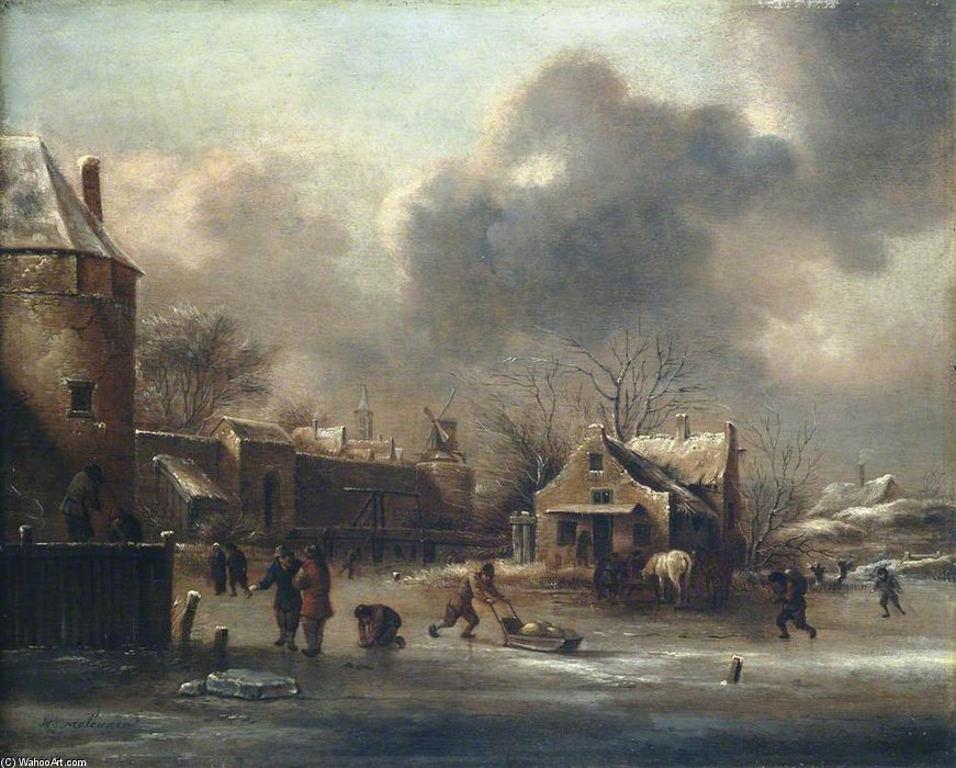 Figures On The Ice Near The Walls Of A Town by Klaes Molenaer (1629-1676, Netherlands)