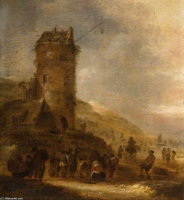 Landscape On The Coast With A Watchtower by Klaes Molenaer (1629-1676, Netherlands)