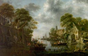 Klaes Molenaer - River Scene With Boats And Fig..