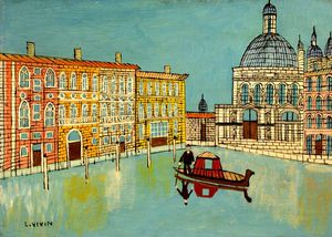 Louis Vivin - Venice - Canal Scene With A Ch..