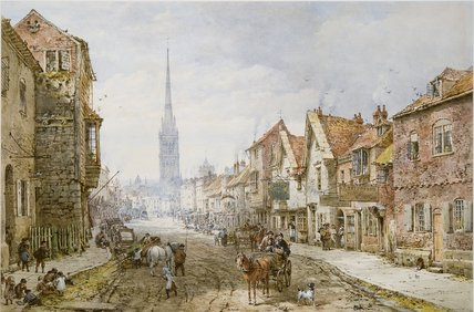Castle Street, Salisbury by Louise Rayner (1832-1924, United Kingdom)