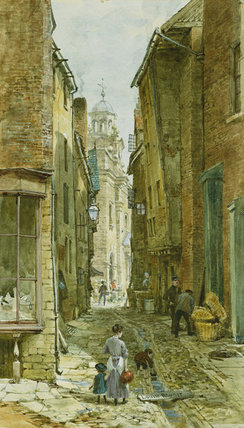 Figures In Harp Lane, Ludlow by Louise Rayner (1832-1924, United Kingdom)