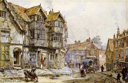 Old Houses, Shrewsbury by Louise Rayner (1832-1924, United Kingdom)
