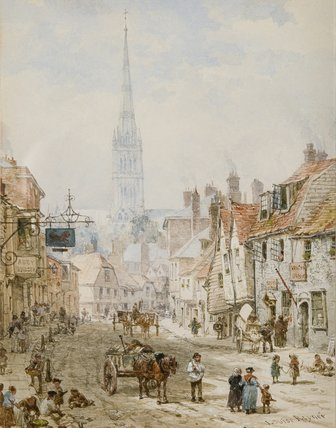 St Ann Street, Salisbury by Louise Rayner (1832-1924, United Kingdom)