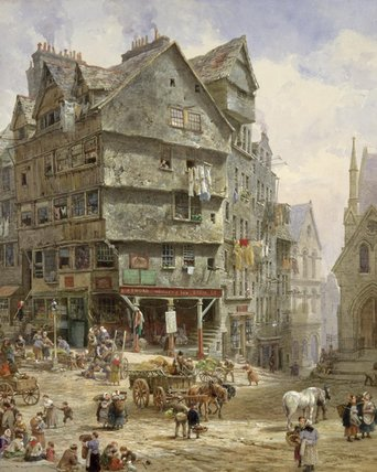 The High Street From The West Bow, Edinburgh by Louise Rayner (1832-1924, United Kingdom)