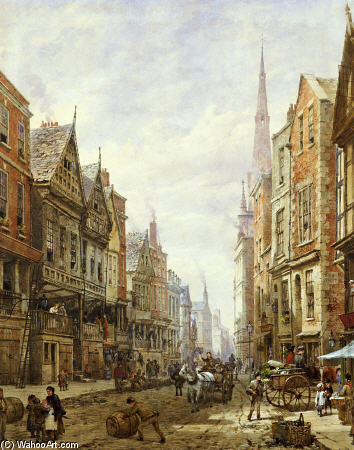 Watergate Street, Chester by Louise Rayner (1832-1924, United Kingdom)