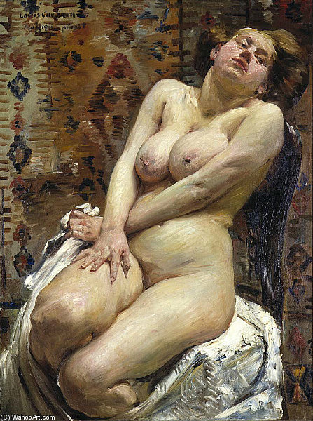 Order Painting Copy : Nana, Female Nude by Lovis Corinth (Franz Heinrich Louis) (1858-1925, Netherlands) | ArtsDot.com