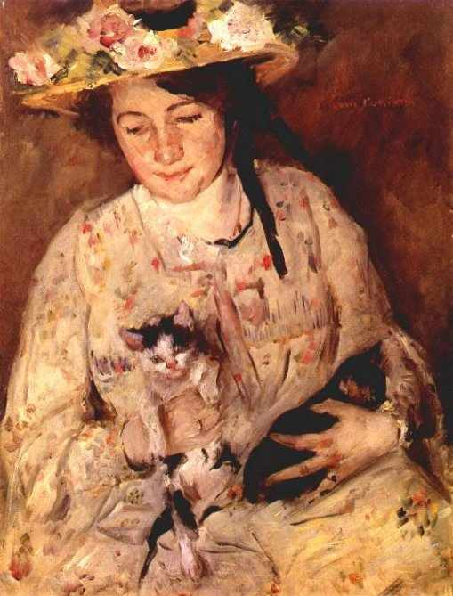 Young Woman With Cats by Lovis Corinth (Franz Heinrich Louis) (1858-1925, Netherlands)