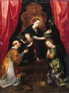 Marten Pepijn - The Madonna And Child Enthroned, Adored