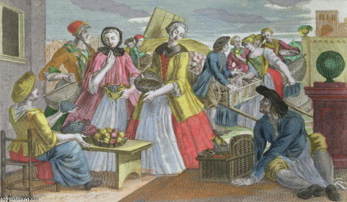 Order Oil Painting : The Fruit Market (coloured Engraving) by Martin Engelbrecht (1684-1756, Germany) | ArtsDot.com