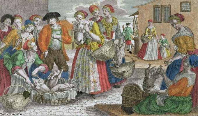 The Poultry Market (coloured Engraving) by Martin Engelbrecht (1684-1756, Germany)