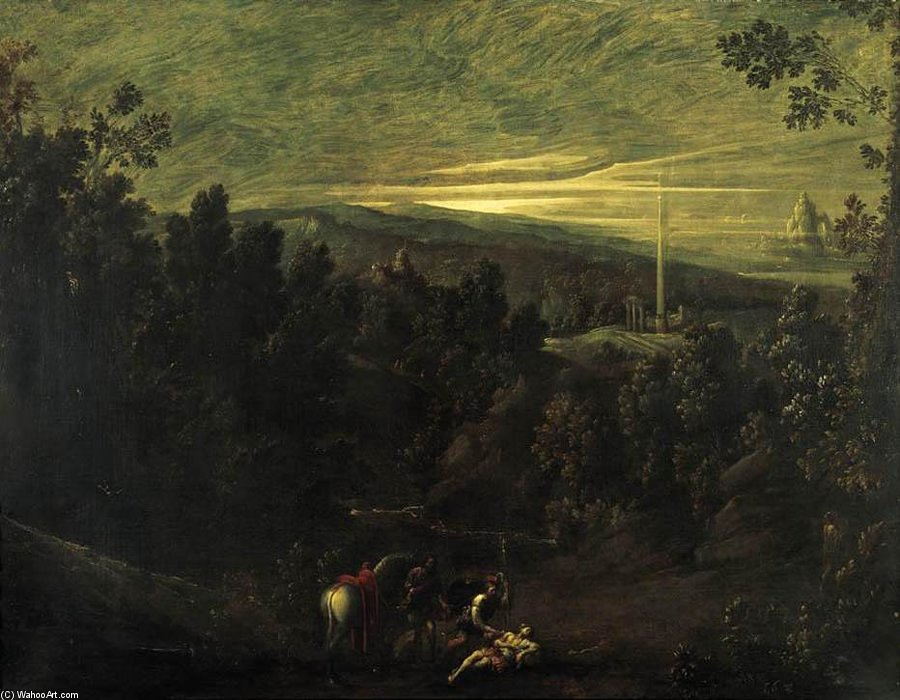 Landscape With The Good Samaritan by Mastelletta (1575-1655, Italy)