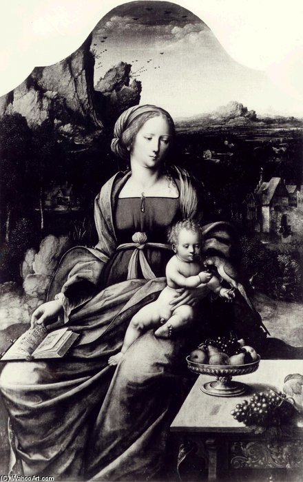 Madonna And Child With A Parrot Against The Background Of Landscape by Master Of The Parrot