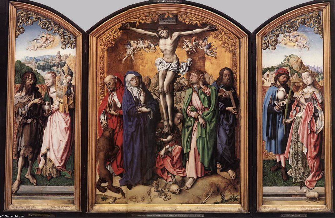 Crucifixion Altarpiece by Master Of The St Bartholomew Altar (1450-1510, Germany) | Art Reproduction | ArtsDot.com