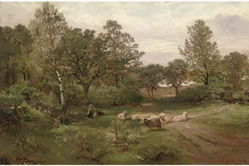 A Summer Afternoon Near Tettenhall Wood by Henry Hadfield Cubley (1858-1934, United Kingdom)