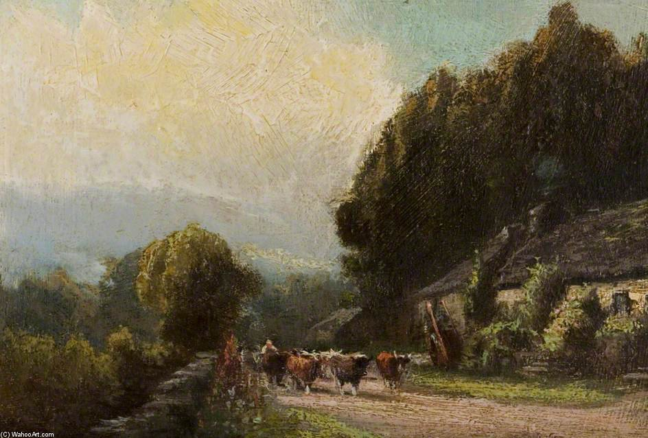 Cattle On A Country Road by Henry Hadfield Cubley (1858-1934, United Kingdom)
