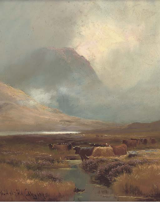 Cattle Watering In A Highland Landscape by Henry Hadfield Cubley (1858-1934, United Kingdom)