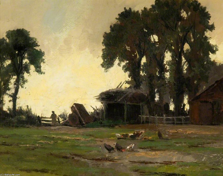 Farmyard by Henry Hadfield Cubley (1858-1934, United Kingdom)