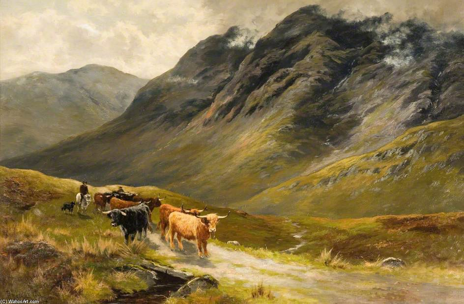 Highland Cattle by Henry Hadfield Cubley (1858-1934, United Kingdom)