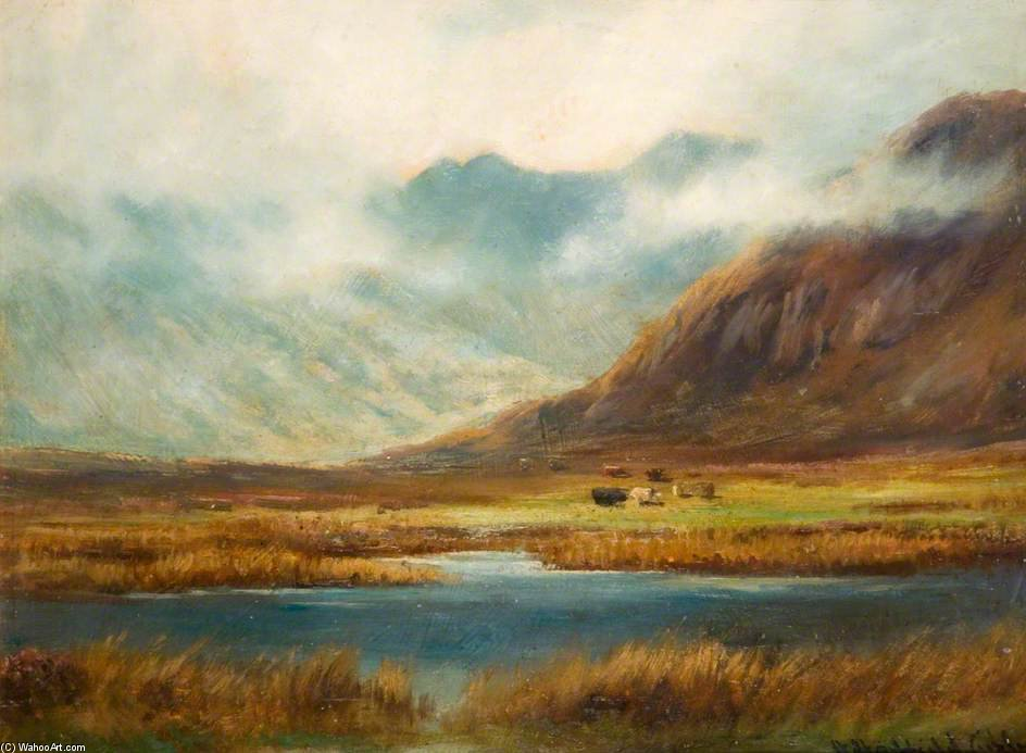 Mountain And Lake by Henry Hadfield Cubley  (order Fine Art Hand Painted Oil Painting Henry Hadfield Cubley)