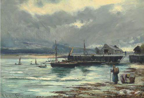 The Harbour Barmouth by Henry Hadfield Cubley (1858-1934, United Kingdom)